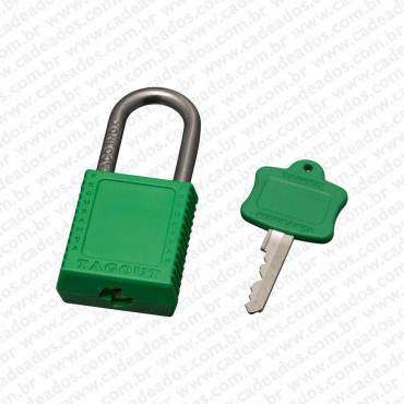 Cadeado Tagout Corpo Plastico e Haste Aço Verde
