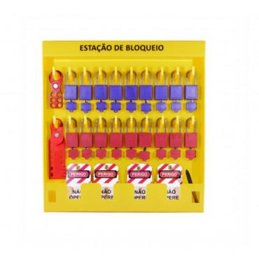Estação de Bloqueio em Plástico Tagout 20 Ganchos